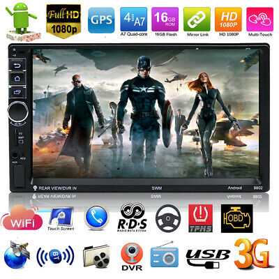 """2DIN 7"""" 1080P Touch Screen Quad-core Android Bluetooth Car Stereo GPS MP5 Player"""