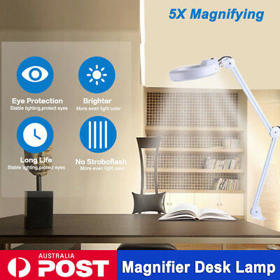 Magnifying Lamp  5'' SMD 5 Diopter Magnifier Desk Light White 5X Glass Salon AU