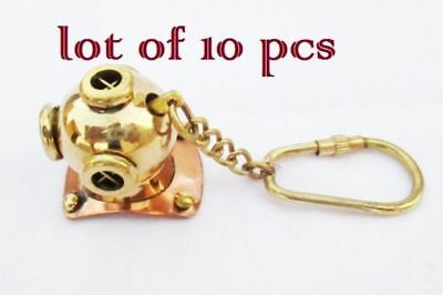 New Brass Divers Helmet Keychain Nautical Diving Keyring s Item Lot Of 10 Pc