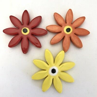 25mm CERAMIC DAISIES FLOWERS - x3 - Red, Orange, Yellow ~ Ceramic Mosaic Tiles