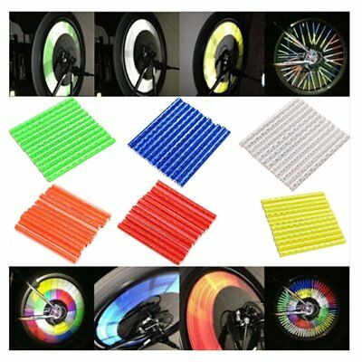 12/24X Bike Wheel Reflective Strip Clips Reflector Cycling Spoke Warning Tube