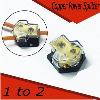 1pcs Pure Copper Car Audio Power Line Splitter 1 in 2 out Cable Distributor
