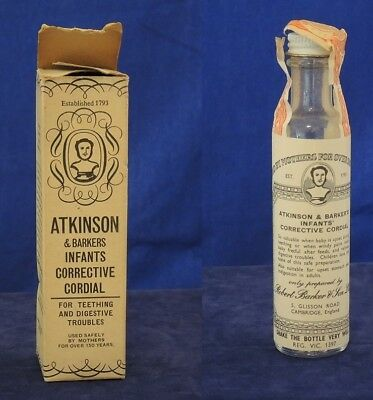1940s ATKINSON AND BARKERS INFANT CORRECTIVE CORDIAL EMPTY BOTTLE LEAFLET & BOX