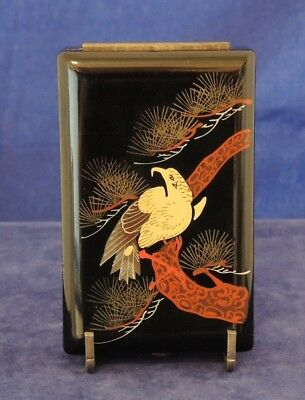 Vintage Japanese Box Black Lacquer Eagle On Pine Tree Branch Catch Lined #26