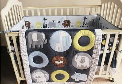 New 7 Piece Baby Bedding Set Animals Zoo Nursery Quilt Bumper Sheet Crib Skirt
