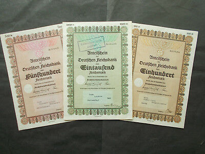 Nazi Central Bank 3X Reichsbank Share Certificates 1939 / Hitlers Banknote Bank