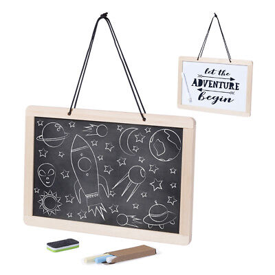 Wooden Chalkboard Whiteboard Blackboard Double Sided Wall Hanging Coffee Sign HQ