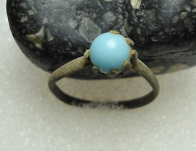 Ancient Roman Bronze Ring with a Blue Stone Original Authentic Antique R95
