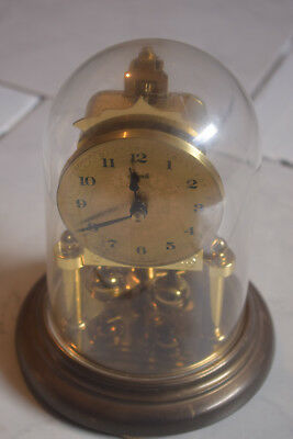 Vintage German Clock Dome Hermle 12 hour Brass Coloured Working Retro