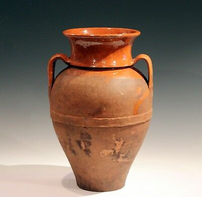 Antique Terracotta Wine Oil Amphora Jar Vase Red Ware Pottery French Italian 15""