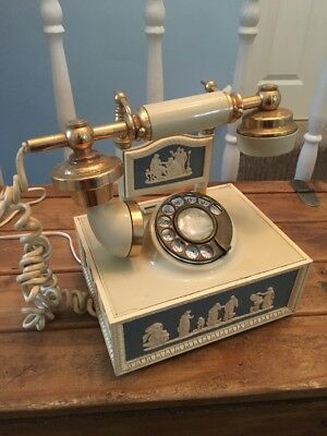 Wedgwood Style Blue Cream Gold Vintage Retro Rotary Home Telephone