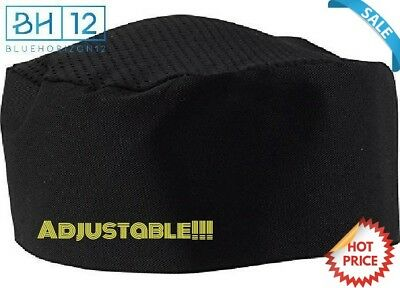 Black Chef Hat - Adjustable. One Size Fit Most
