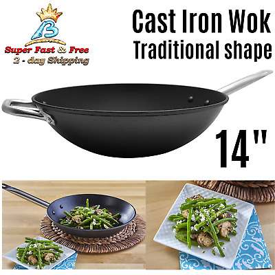 Cast Iron Wok Pre Seasoned Cooking Pan Kitchen Cookware Kitchenware Black 14""