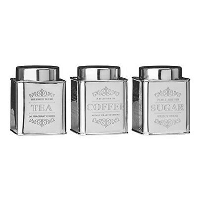 Premier Housewares Stainless Steel Chai Tea/coffee/sugar Canisters, Set Of 3 By