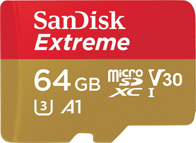 SanDisk Extreme 64GB Micro-SDXC A1 Card mit 100 MB/s UHS-3 Speed U3 + SD-Adapter