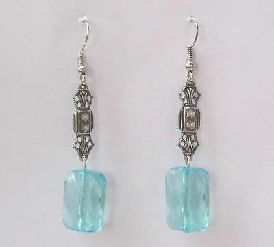 Art Deco Style Earrings Rectangular Turquoise Acrylic Crystal Dark Silver Plated