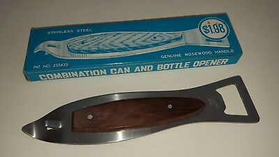 Vintage Bottle Opener Mid Century Stainless Original Box Can Opener Wood Handle