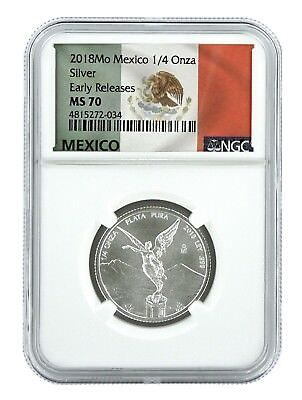 2018 Mexico 1/4oz Silver Onza Libertad NGC MS70 - Early Releases - Flag Label