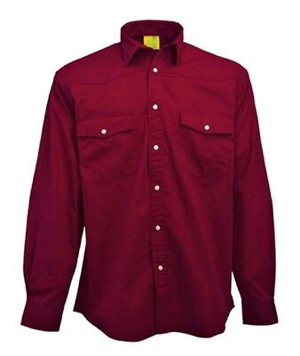 SHIRT herren Longsleeve Mans Pre-Washed 100% Brushed Cotton Twill Dark rot M DE