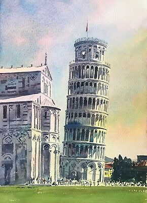 "NEW ORIGINAL ALAN REED ""Leaning Tower of Pisa, Italy"" Tuscany PAINTING"