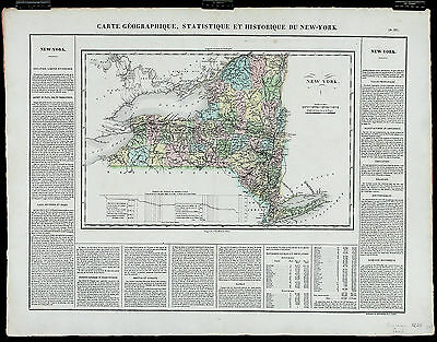 1825 ANTIQUE RARE 19thC French MAP CARTE GÉOGRAPHIQUE...NEW YORK Buchon, Paris