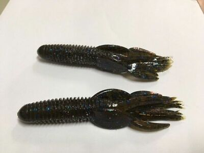 """4/"""" Craw Tube Huckleberry Bass Tube Solid Head 50 count bag bulk plastic worms"""