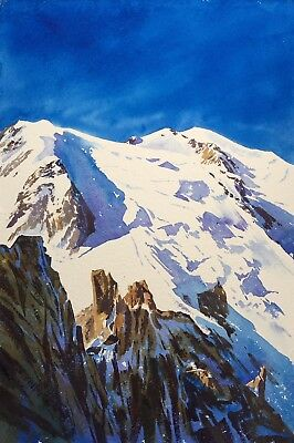 "NEW ORIGINAL ALAN REED ""Mont Blanc and Manganese Blue"" France PAINTING"