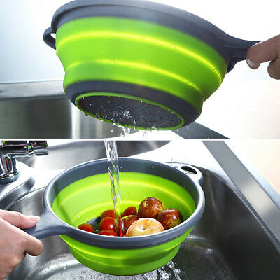 Silicone Collapsible Kitchen Food Fruit Vegetable Colander Draining Strainer