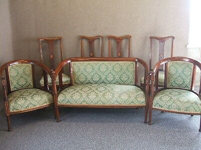 Mahogany Stringed Inlaid 7 Piece  Parlour Suite