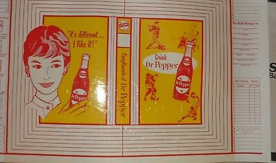 """DR PEPPER 10-2-4 PAPER BOOK COVER-1950s - 12"""" x 20"""" OLD GRAPHICS  SPORTS"""
