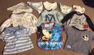 Disney Baby Boy Clothes Tops Bibs Bundle 3 To 6 Months Mickey