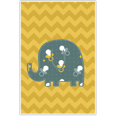 Elephant Yellow Chevron Nursery Decor Wall Art
