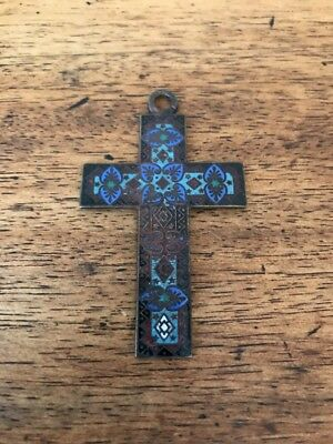 Antique Large French Enamel Cross Pendant Champleve! RARE!