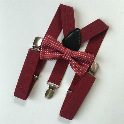 Bow Tie Suspender Set For Girls And Boys Toddler Kids Baby Child Matching Colors