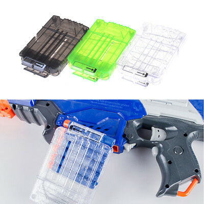 6 Darts Bullets Magazine Clip System for Nerf N-strike Elite Toy Gun Clear ^G