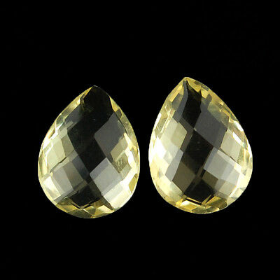 VVS 2 Pcs ~16mm/12mm  Pair AAA Super Quality Natural Citrines Checkerboard Cut