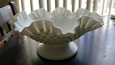 Fenton Glass White Milk Glass Hobnail Footed bowl Compote *xcellent cond*