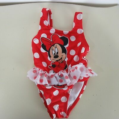 Disney Baby 3/6 M Minnie Mouse Swimsuit Infant Toddler Girl Size Polka Dot Red
