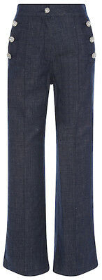 WOW! New Tags Manoush crystal button straight leg jeans sz 42 US 10 $385