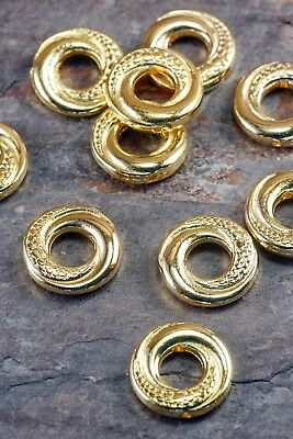 Lot of 20 Pieces Tibetan Silver 15mm Gold Golden Tone Donut Ring Spacer Beads
