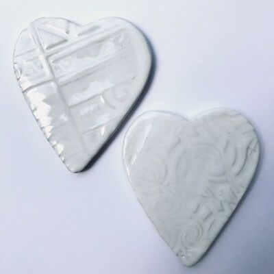 Ceramic Textured Heart Mosaic Inserts - x2 - White ~ Ceramic Mosaic Tiles