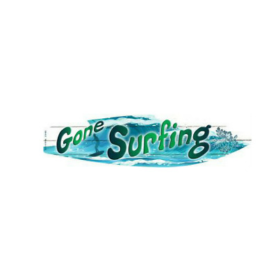 "Gone Surfing Pink Metal Novelty Surfboard Sign 17/"" x 4.5/"" Wall Decor"
