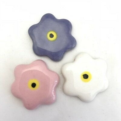 28mm CERAMIC FLOWERS (x3) - Purple, Pink, White ~ Ceramic Mosaic Tiles