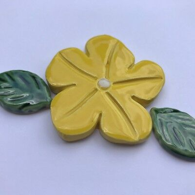 50mm Ceramic Flower and 2 Leaves - Yellow ~ Ceramic Mosaic Tiles