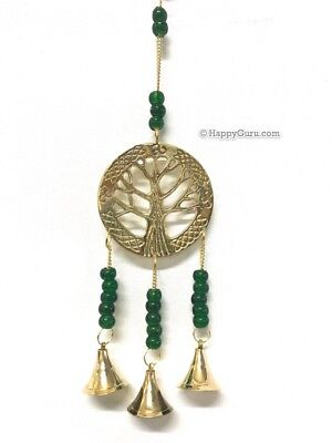 """""""Tree Of Life"""" Brass Motif With 3 Hanging Brass Bells With Green Glass Beads"""