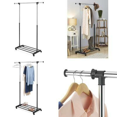 Superbe Whitmor Deluxe Adjustable Garment Rack   Rolling Clothes Organizer   Black  And C