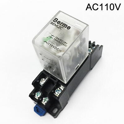 110V AC Coil DPDT Big 8 Pins Electromagnetic Power Relay w/ DYF08A Base