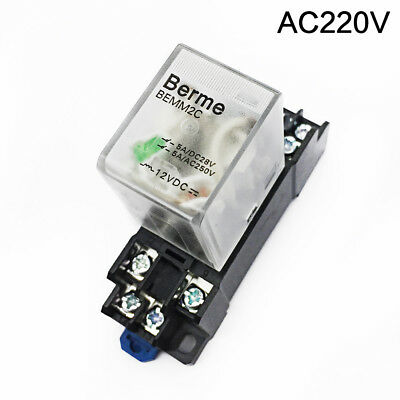 220V AC Coil DPDT 8 Pins Electromagnetic Power Relay w/ DYF08A Base