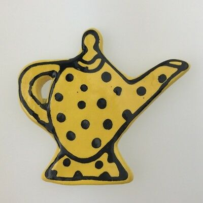 Ceramic Teapot with Footrim - Yellow ~ Ceramic Mosaic Tiles