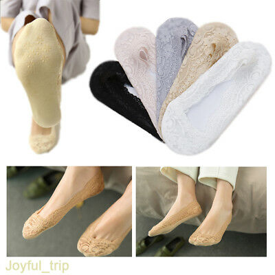 5 Pairs Ladies Skin Shoe Liners Footsies Invisible Thin Lace Socks Sheer Women